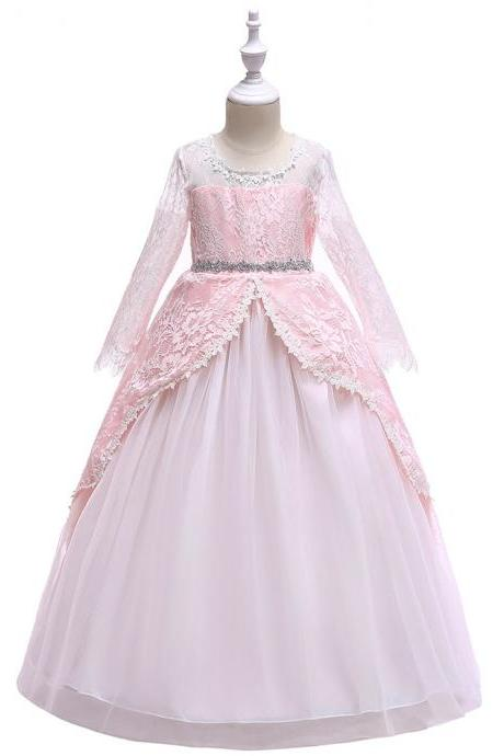 Long Sleeve Flower Girl Dress Lace Wedding Formal Birthday Party Princess Gown Kids Children Clothes pink