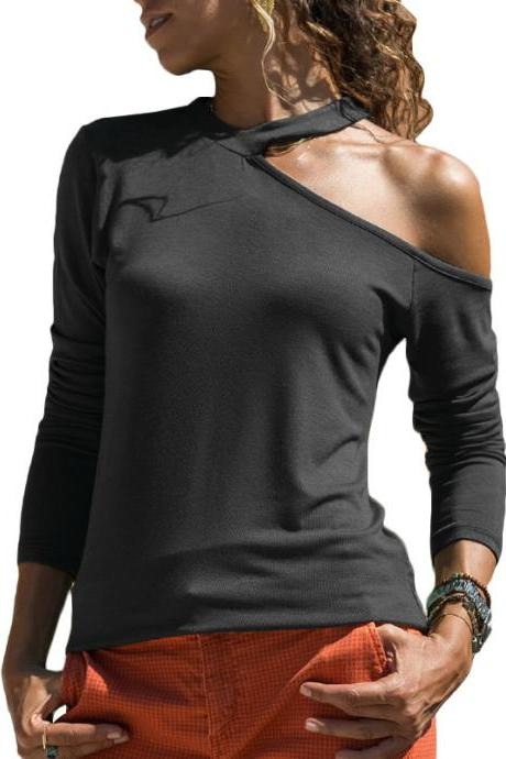 Women Long Sleeve T Shirt One Off Shoulder Solid Casual Slim Tee Tops black