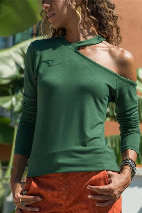 Women Long Sleeve T Shirt One Off Shoulder Solid Casual Slim Tee Tops green