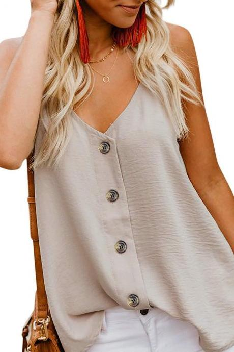 Women Button Tank Top Spaghetti Strap V Neck Summer Causal Loose Sleeveless Vest Tops apricot