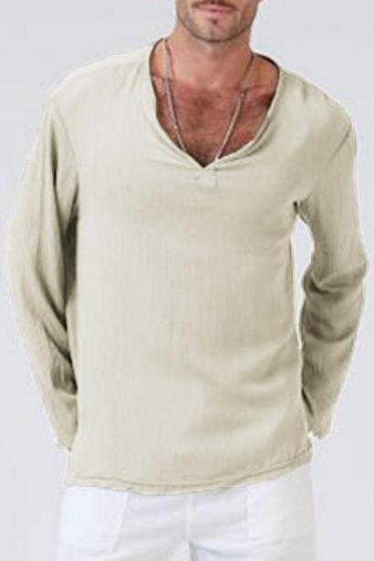 Men Long Sleeve T Shirt Spring Fall V Neck Cotton Linen Casual Loose Pullover Tops khaki