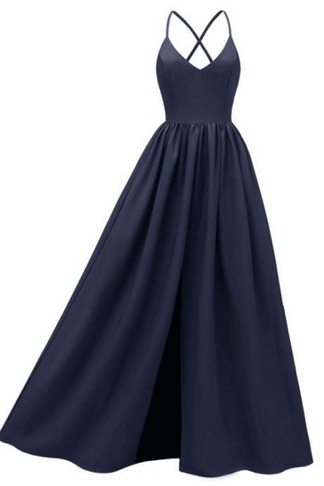Women Maxi Dress Spaghetti Strap Backless Casual Slim Long Formal Birthday Party Dress navy blue