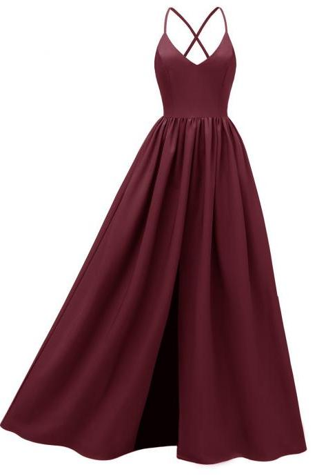 Women Maxi Dress Spaghetti Strap Backless Casual Slim Long Formal Birthday Party Dress wine red