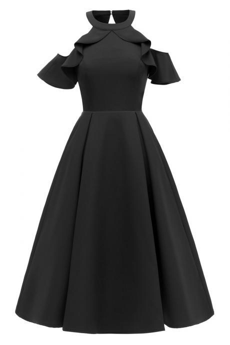 Women Casual Dress Halter Ruffle Sleeve Cold Shoulder Slim A Line Formal Party Dress black
