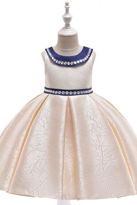 Beaded Flower Girl Dress Satin Wedding Formal Pageant Party Gown Summer Children Kids Clothes champagne
