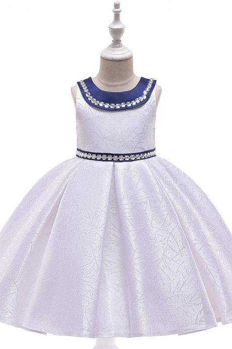 Beaded Flower Girl Dress Satin Wedding Formal Pageant Party Gown Summer Children Kids Clothes off white