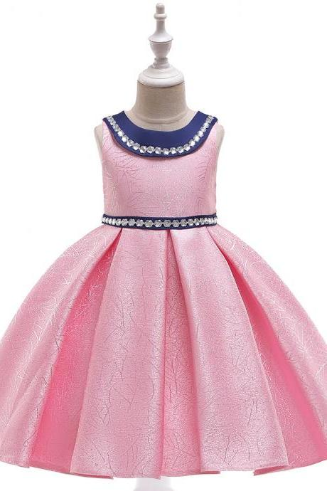 Beaded Flower Girl Dress Satin Wedding Formal Pageant Party Gown Summer Children Kids Clothes pink