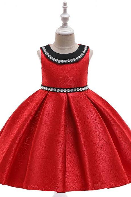 Beaded Flower Girl Dress Satin Wedding Formal Pageant Party Gown Summer Children Kids Clothes red