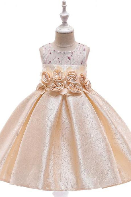 Floral Flower Girl Dress Princess Formal Perform Birthday Party Gown Summer Children Kids Clothes champagne