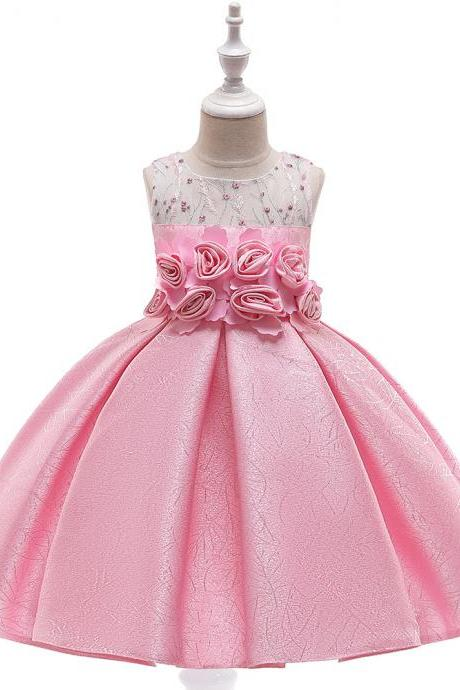 Floral Flower Girl Dress Princess Formal Perform Birthday Party Gown Summer Children Kids Clothes pink