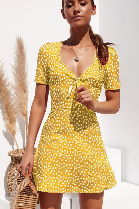 Women Floral Printed Dress Casual V Neck Short Sleeve Summer Beach Boho Mini Party Dress yellow