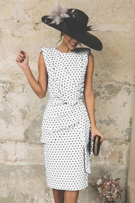 Women Polka Dot Dress Pleated Wrap Sleeveless Slim Bodycon Pencil Party Dress off white