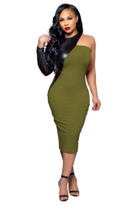 Women Pencil Dress PU Leather Patchwork One Shoulder Long Sleeve Bodycon Midi Club Party Dress army green