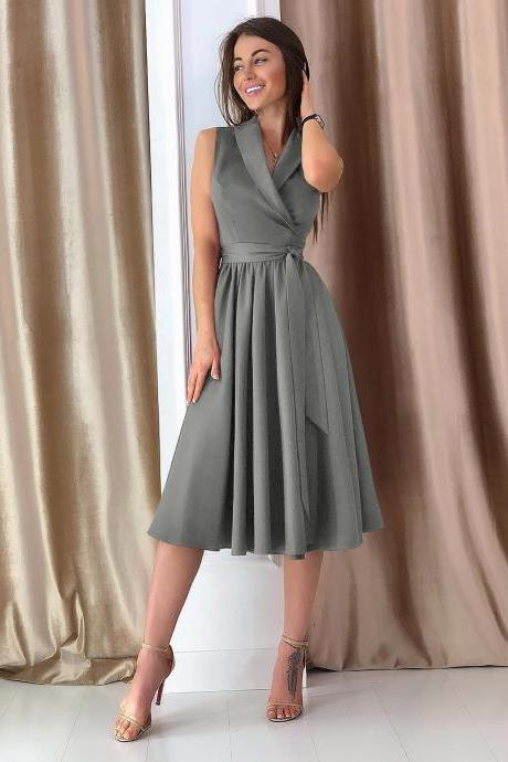 Women Midi Casual Dress Spring Summer V Neck Sleeveless A Line Work Office Party Dress gray