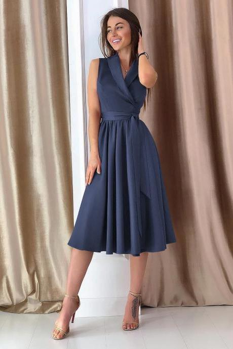 Women Midi Casual Dress Spring Summer V Neck Sleeveless A Line Work Office Party Dress navy blue