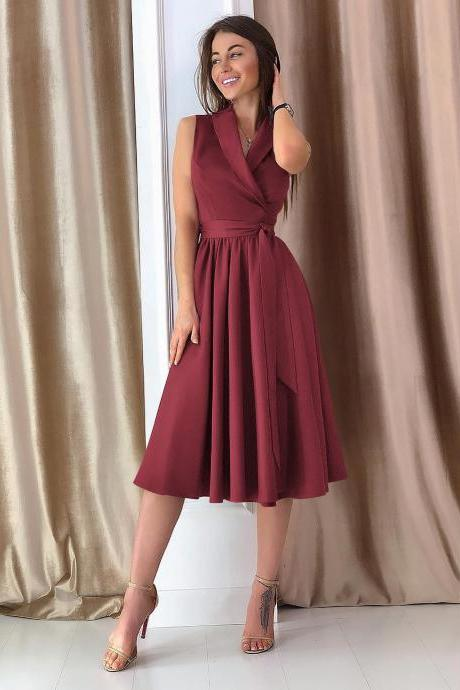 Women Midi Casual Dress Spring Summer V Neck Sleeveless A Line Work Office Party Dress wine red