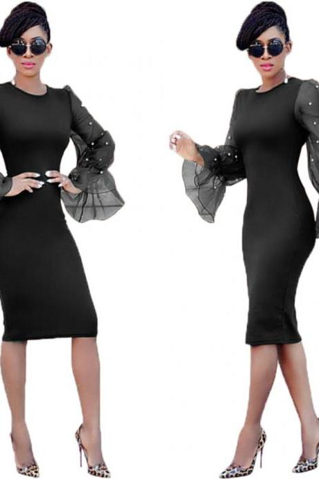 Women Pencil Dress Long Flare Sleeve Work Office Knee Length Slim Bodycon Party Dress