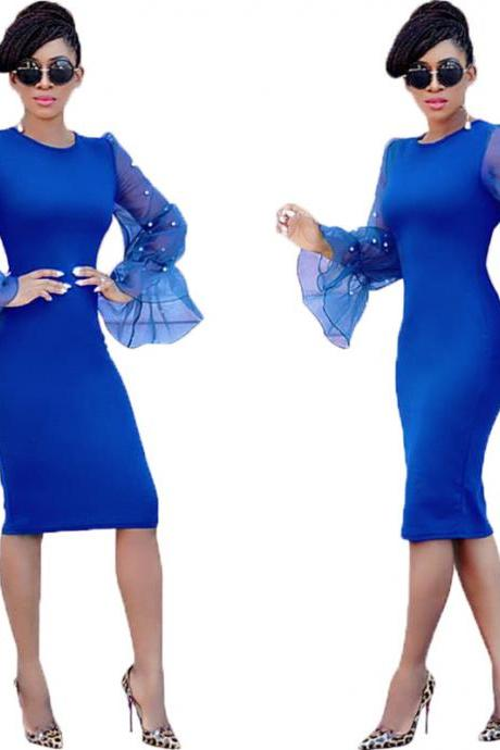 Women Pencil Dress Long Flare Sleeve Work Office Knee Length Slim Bodycon Party Dress royal blue
