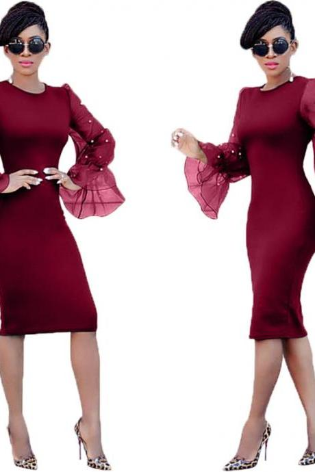 Women Pencil Dress Long Flare Sleeve Work Office Knee Length Slim Bodycon Party Dress wine red