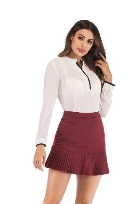 Women Mini Pleated Skirt Summer High Waist Slim Students Package Hip Pencil Skirt wine red