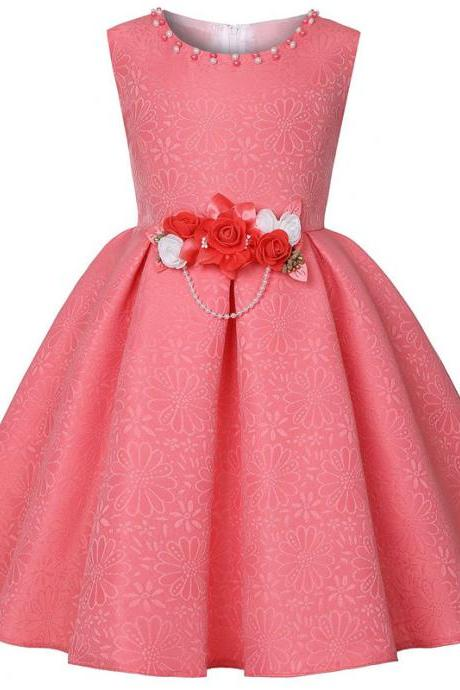 Floral Flower Girl Dress Princess Formal Birthday Teens Party Gown Kids Children Clothes watermelon red