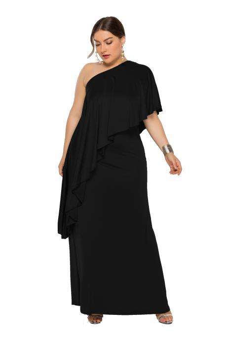 Women Maxi Dress One Shoulder Asymmetrical Long Party Prom Evening Gowns black