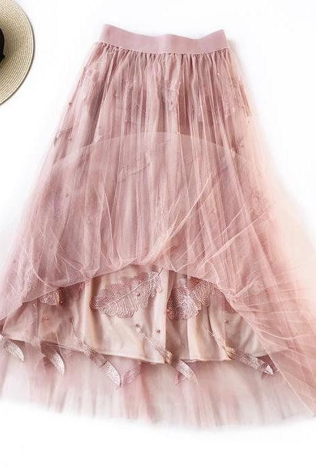 Women Tulle Skirt Summer High Waist Embroidery Feather A Line Casual Midi Pleated Skirt pink