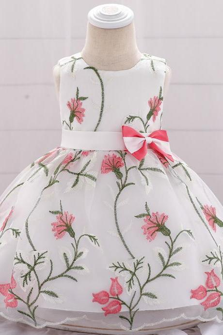 Embroidery Flower Girl Dress Newborn Baby Baptism Floral Party Birthday Gown Kids Clothes watermelon red