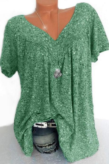 Women Floral Printed T Shirt Summer V Neck Short Sleeve Casual Loose Plus Size Tee Tops green