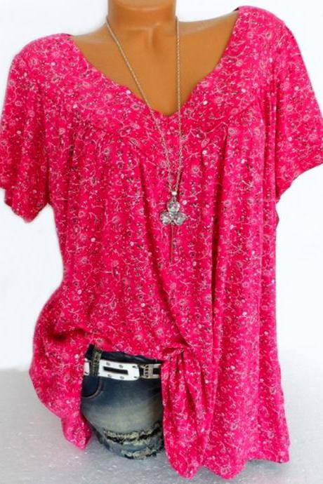 Women Floral Printed T Shirt Summer V Neck Short Sleeve Casual Loose Plus Size Tee Tops hot pink