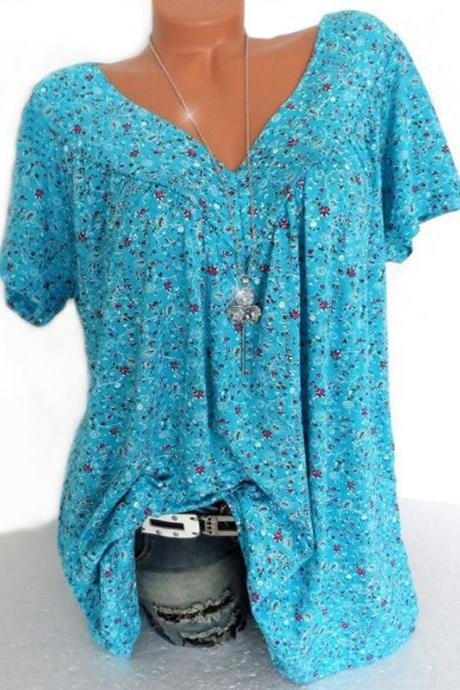 Women Floral Printed T Shirt Summer V Neck Short Sleeve Casual Loose Plus Size Tee Tops light blue