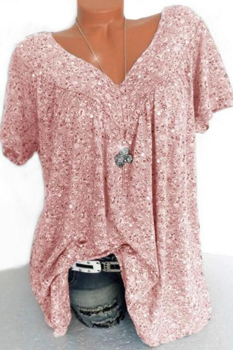 Women Floral Printed T Shirt Summer V Neck Short Sleeve Casual Loose Plus Size Tee Tops pink
