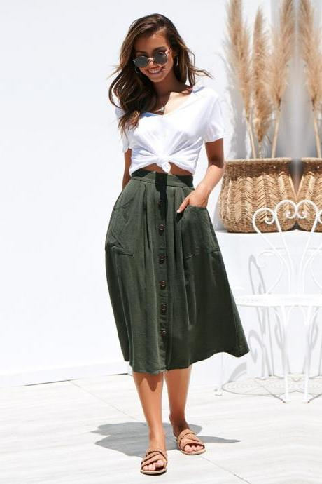 Women A-Line Skirt High Waist Summer Casual Button Pockets Female Midi Skirt army green