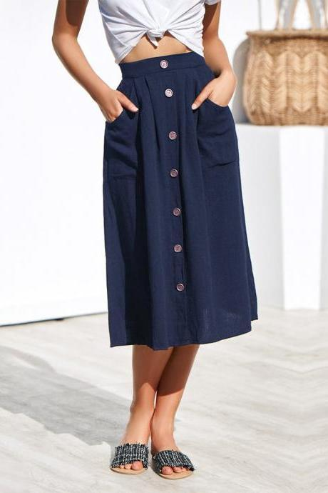 Women A-Line Skirt High Waist Summer Casual Button Pockets Female Midi Skirt navy blue