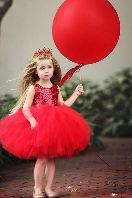 Sequined Flower Girl Dress Heart Backless Princess Formal Birthday Party Tutu Gown Kids Clothes red