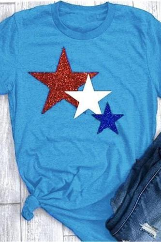 Women T Shirt Summer Short Sleeve O-Neck Casual Star Printed Plus Size Tee Tops blue