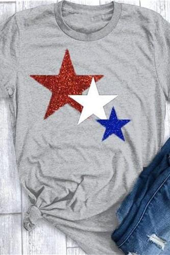 Women T Shirt Summer Short Sleeve O-Neck Casual Star Printed Plus Size Tee Tops gray