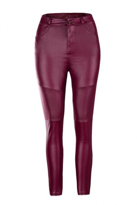 Women PU Leather Pants Autumn Winter High Waist Pleated Skinny Stretch Pencil Trousers wine red