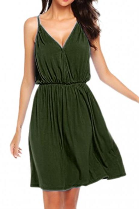 Women Casual Dress Summer V Neck Spaghetti Strap Sleeveless Loose Beach Mini Dress army green