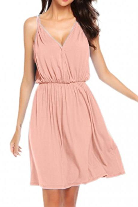 Women Casual Dress Summer V Neck Spaghetti Strap Sleeveless Loose Beach Mini Dress pink