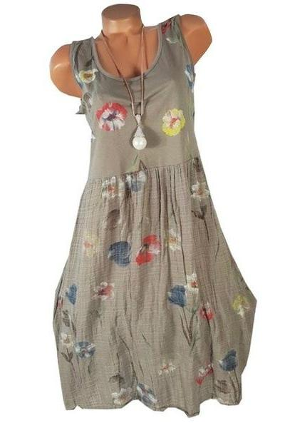 Women Floral Printed Dress Summer Casual Loose Boho Beach Plus Size Sleeveless Mini Sundress
