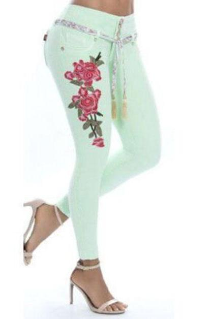Women Denim Pants Embroidery Floral High Waist Plus Size Skinny Casual Pencil Jeans Trousers pale green