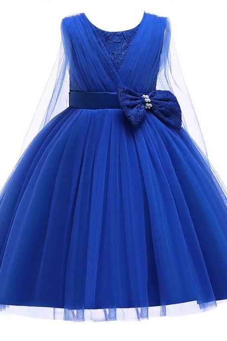 Lace Flower Girl Dress Sleeveless Formal Evening Birthday Tutu Gown Children Kids Clothes blue