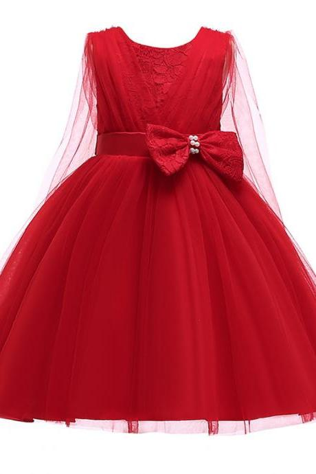 Lace Flower Girl Dress Sleeveless Formal Evening Birthday Tutu Gown Children Kids Clothes red