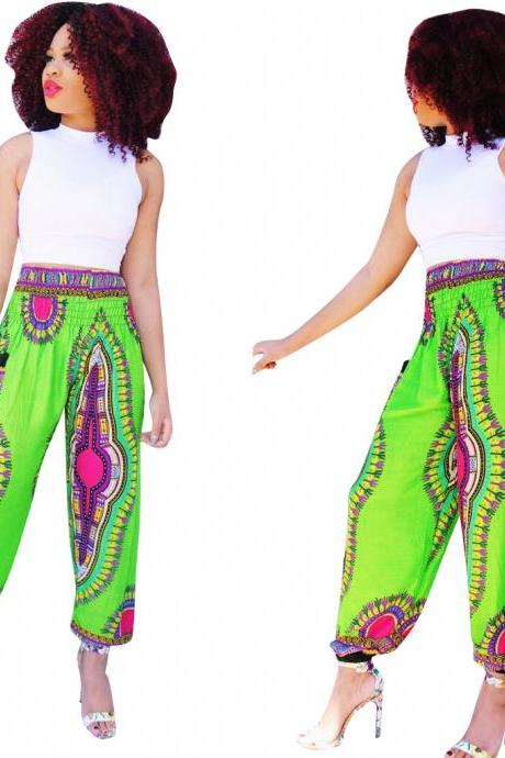Women Wide Leg Pants Summer Beach Casual Loose Bohemian Totem Digital Printed Long Trousers green