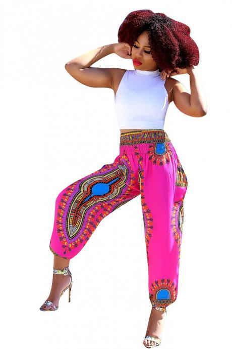 Women Wide Leg Pants Summer Beach Casual Loose Bohemian Totem Digital Printed Long Trousers hot pink