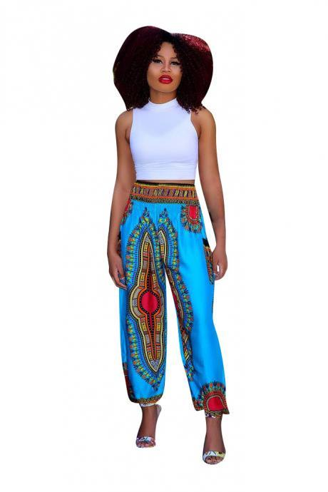 Women Wide Leg Pants Summer Beach Casual Loose Bohemian Totem Digital Printed Long Trousers light blue