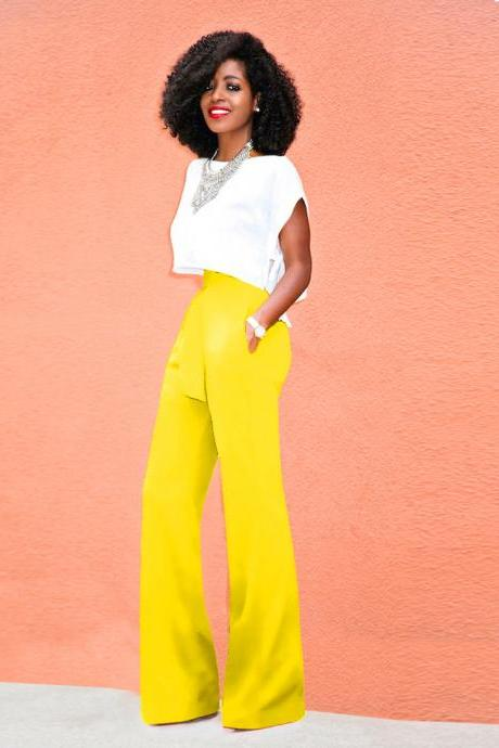 Women Wide Leg Pants High Waist Belted Casual OL Work Office Long Palazzo Trousers yellow