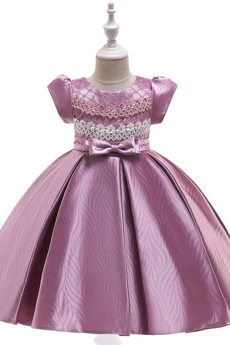 Lace Flower Girl Dress Short Sleeve Formal Birthday Party Ball Gown Children Kids Clothes bean pink