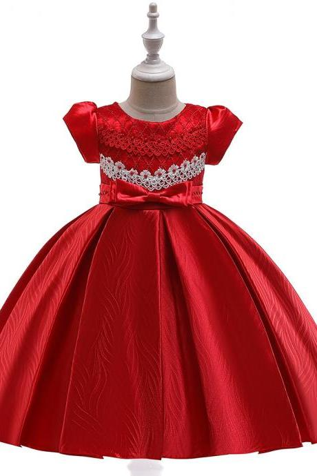 Lace Flower Girl Dress Short Sleeve Formal Birthday Party Ball Gown Children Kids Clothes red